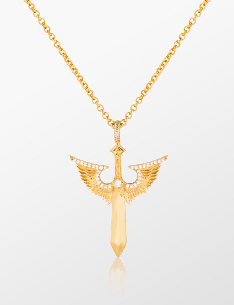 kanatlı kılıç kolye tyran design altın gümüş erkek kadın