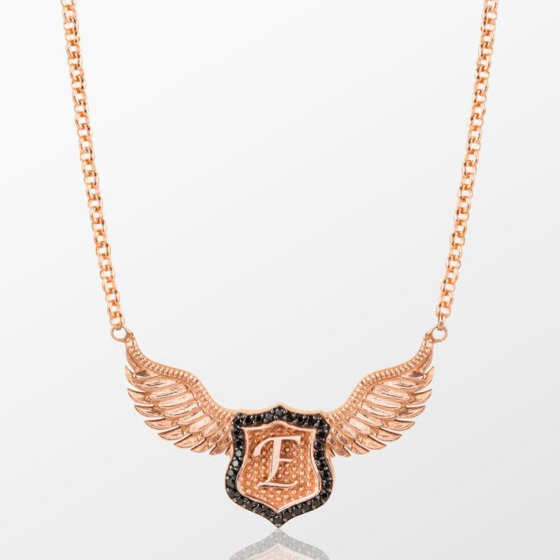 kanatlı kılıç kolye tyran design altın gümüş erkek kadın kanatlı kalkan kolye harf