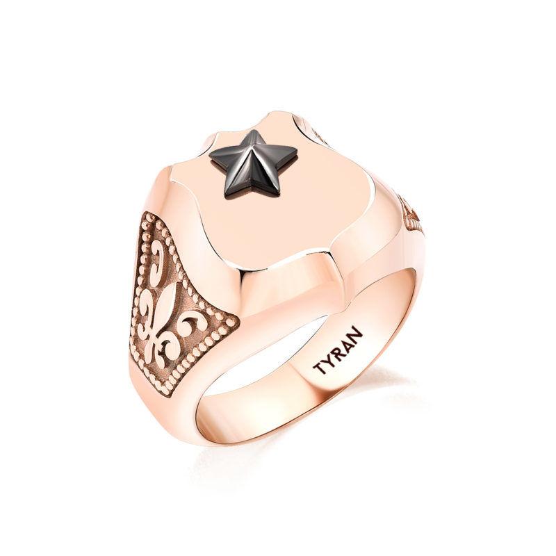 yıldız sembollü zambak lı rose kadın yüzük