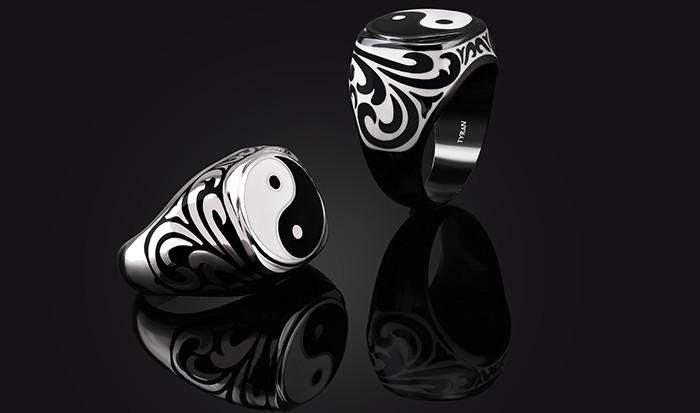 yin yang denge erkek gümüş yüzük