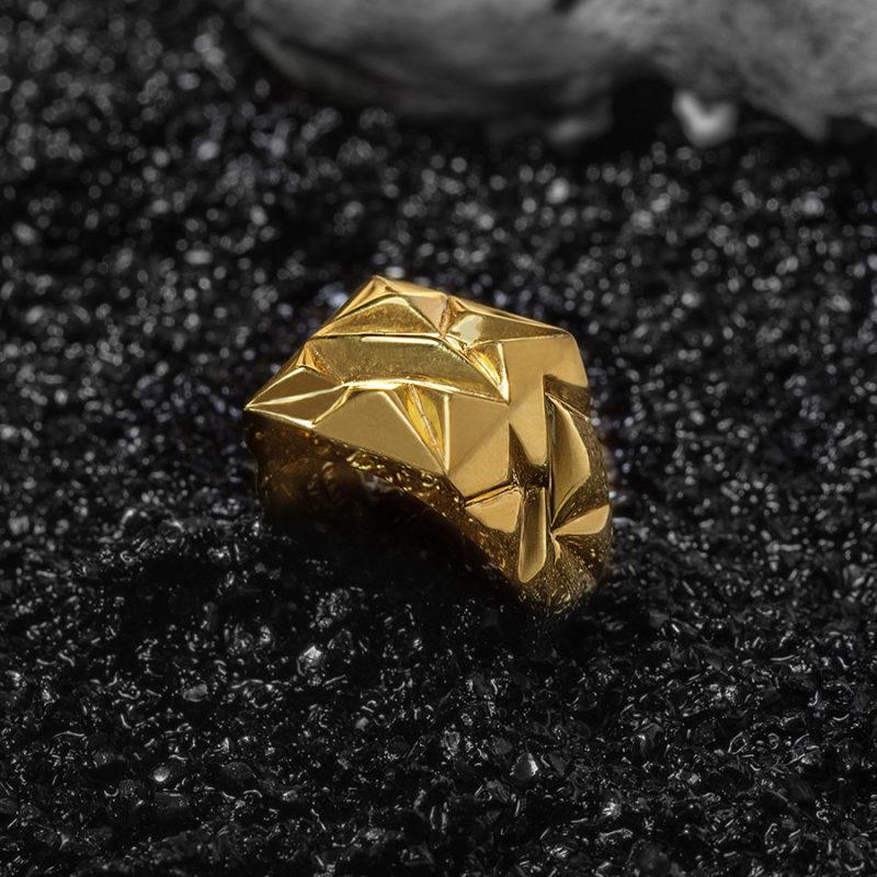 Kadın El Tasarımı Gold Renk Geometrik Yüzük