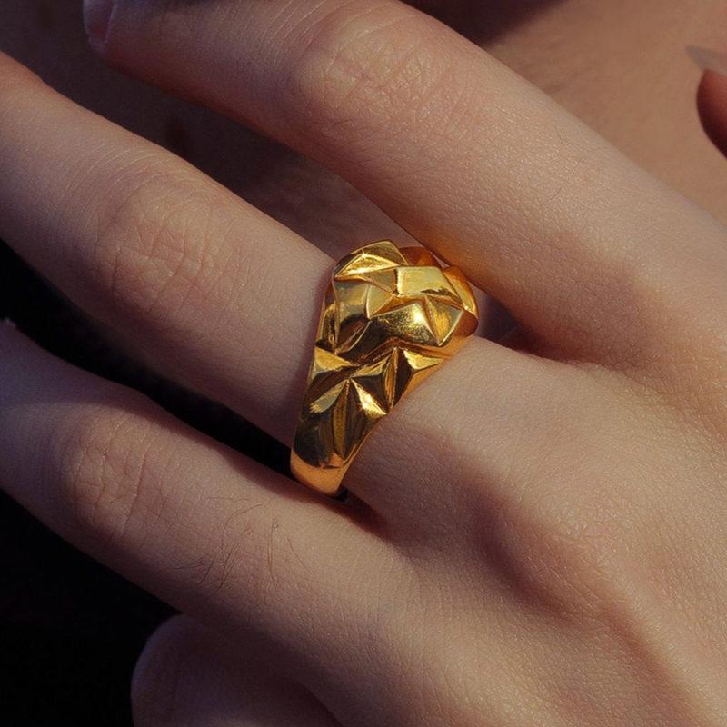 Kadın Gold Renk Geometrik Mühür Yüzük