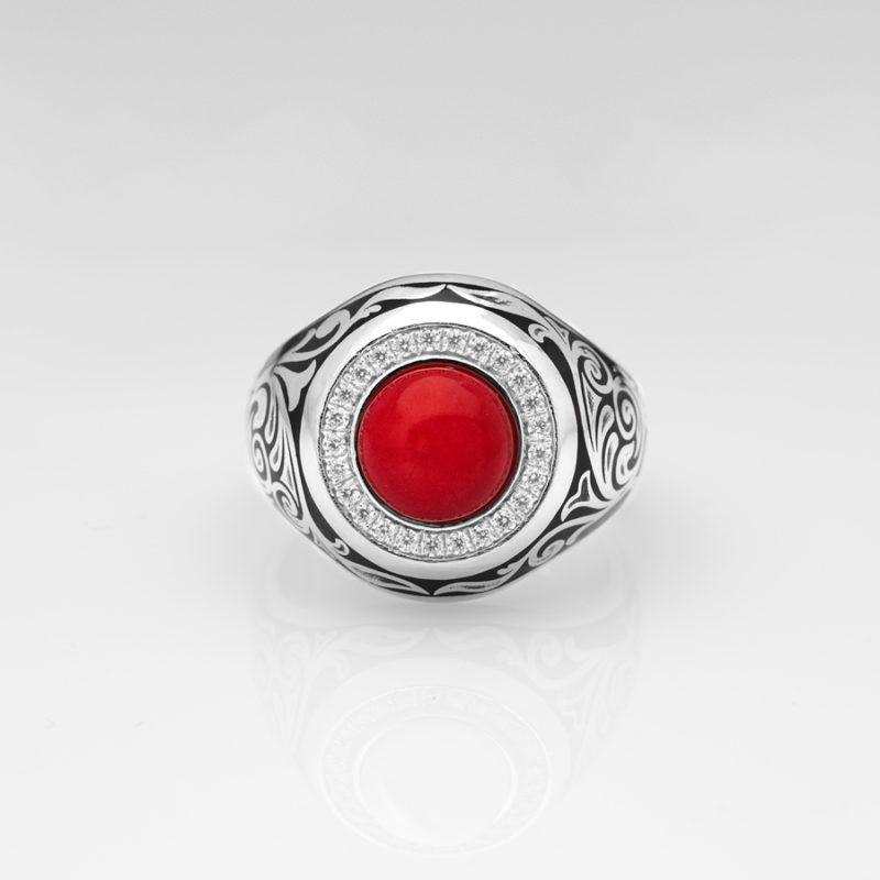 925 Ayar Gümüş Kırmızı Mercan Taşlı Erkek Yüzük