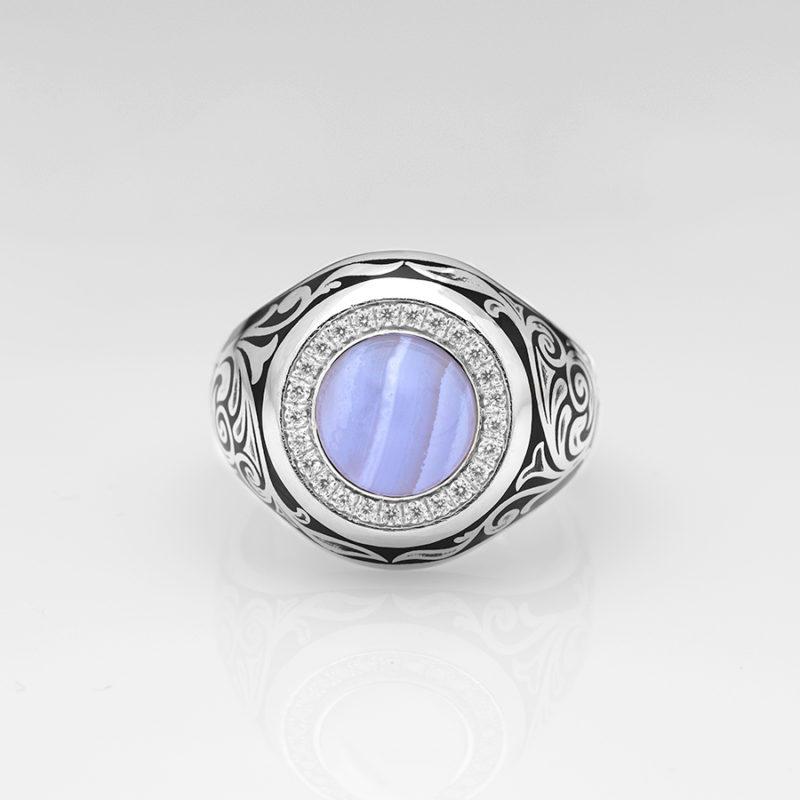 Mavi Akik Taşlı El Yapımı Gümüş Yüzük