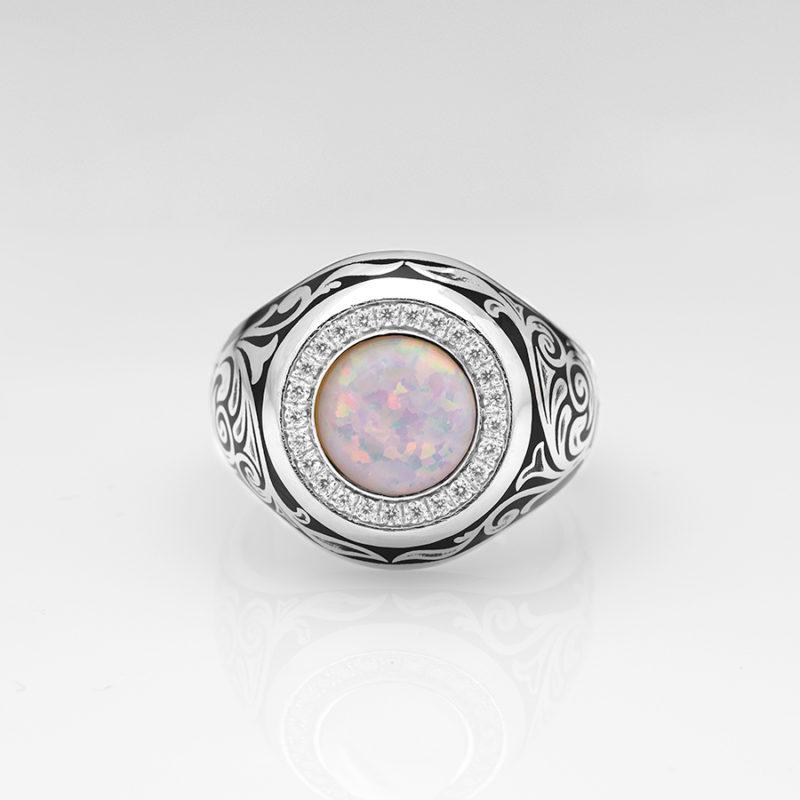 Opal Taşlı 925 Ayar Gümüş Yüzük